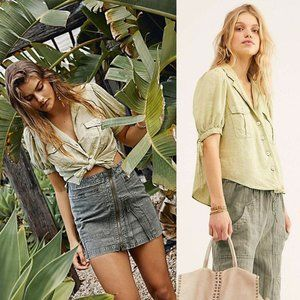 NEW Free People Safari Babe Linen Blend Button Top